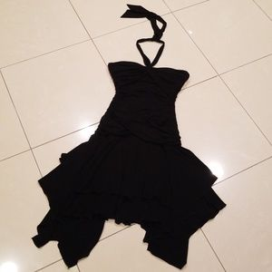 BCBG Maxazria Black Stretch Ruched Dress
